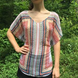 Boho V Neck Colorful Tie Waist Top Size Small